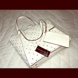 INC White Quiin Quilted Studded Tote